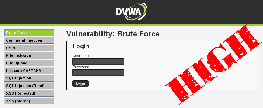 Brute Force DVWA High Level