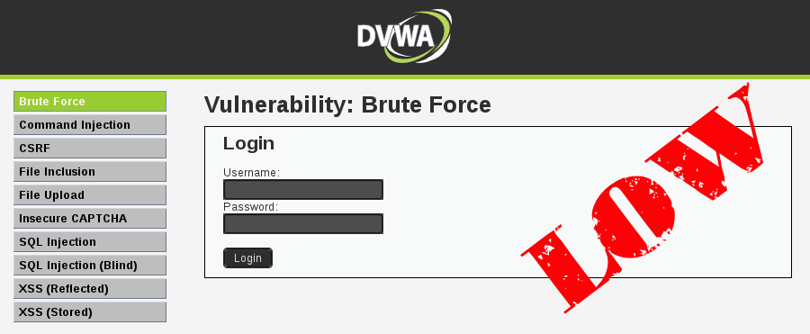 Brute Force DVWA Low Level